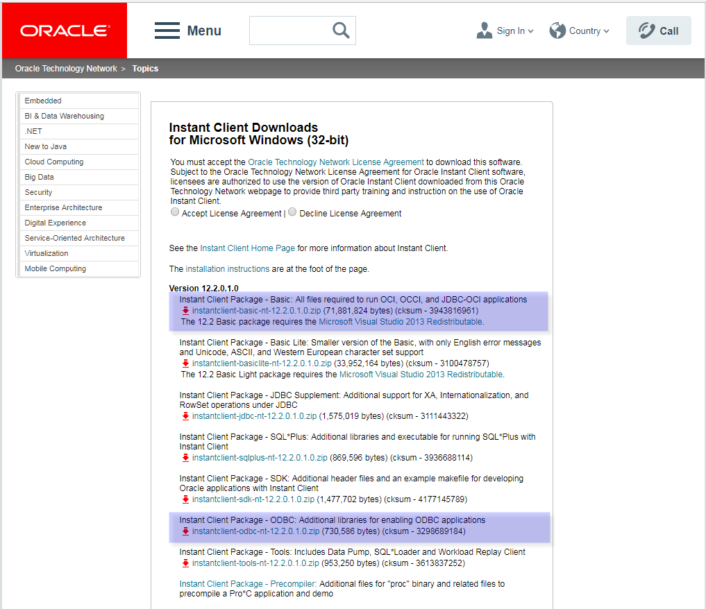 Download the Oracle Instant Client and ODBC Driver