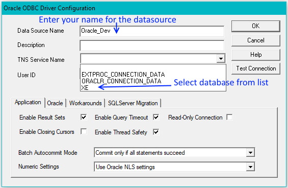 Configure the Oracle ODBC Driver
